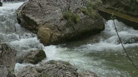 rzeka : Foamy water flowing around a big boulder on a mountain river.