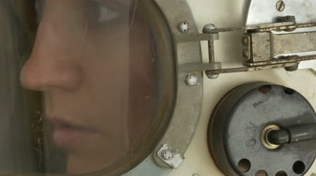cccp : Vintage Soviet Union woman cosmonaut speaking with control base.