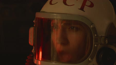 commemorative : Dying cosmonaut in capsule. Stock Footage