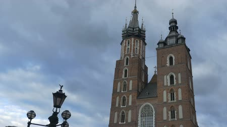 lesser poland : Ground view of Saint Mary Basilica in Krakow, Poland on a bad weather day.