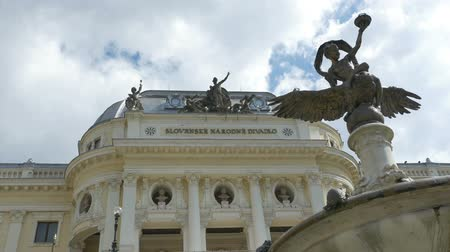 Československo : View of The Slovak National Theatre building and fountain in summer day.