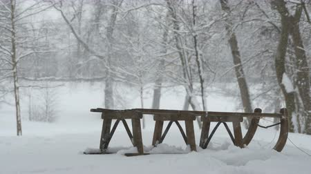 luge : View of a wooden vintage sleigh during a snowfall in the woods. Stock Footage