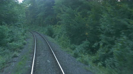 ot : Railroad view through the sunset forest in Romania. Stok Video