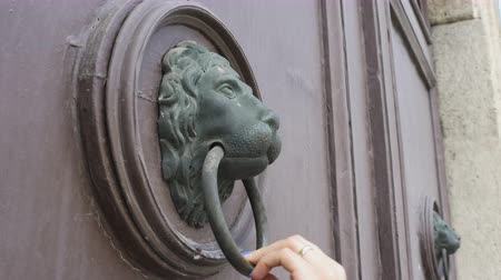 kopogás : Woman knows on an old vintage door with a lion shaped knocker.