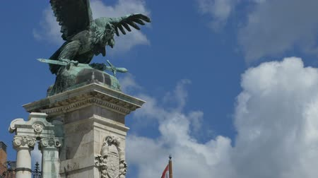 vulture : Baroque impressive bronze eagle statue on the gates of Buda Castle.