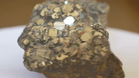 nugget : View of Pyrites geological rock sample. Stock Footage