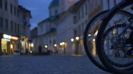 sepya : View of an European  old cobblestone down town.