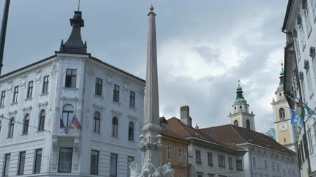 капитал : View of Robba Fountain in Ljubljanam Slovenia.