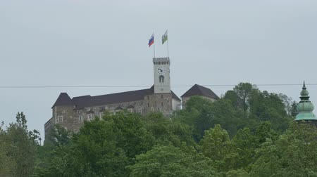 slovenya : View of the Ljubljana Castle on a cloudy day on errected on the hills.