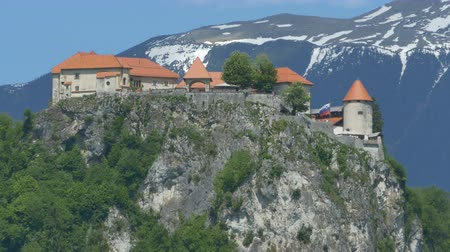 romanesk : View of the Slovenian Bled Castle, up on the mountains, Stok Video