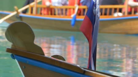 margem do rio : View of tourists on a traditional Slovenian Boat on the Lake Bled. Stock Footage