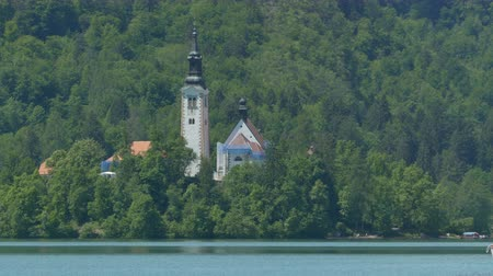 templomtorony : View of the Assumption of Mary Church in Lake Bled, Slovenia.