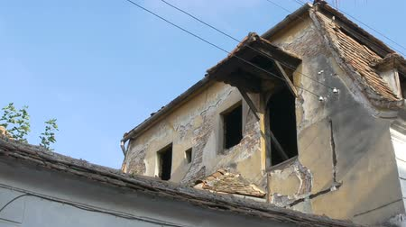 half timbered houses : View of a ruined old house attic. Stock Footage