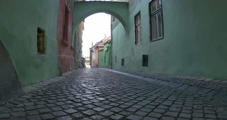 Čechy : Walking on a medieval city with cobblestone alley and arcades.