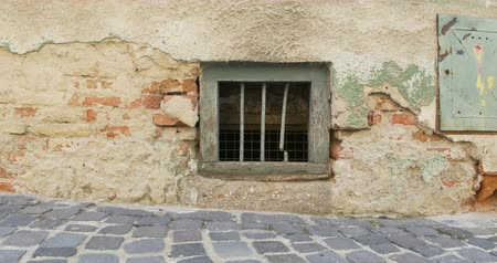 neglected : Dark basement window of old dilapited house. Stock Footage