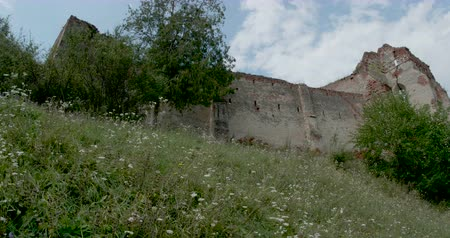 architectural heritage : View of the ruins of a medieval Saxon castel in transylvania.