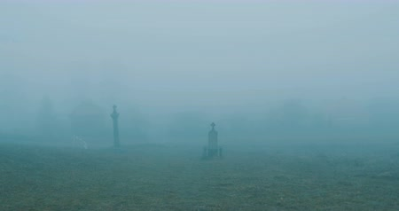 Scarry view of a misty cemetery. Stok Video