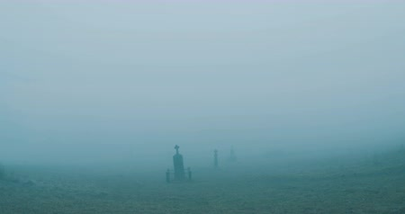 crypt : Walking on cemetery on mist.