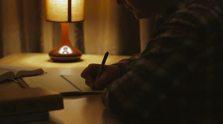 yazarak : A woman writing into notebook , sitting by a lamp Stok Video