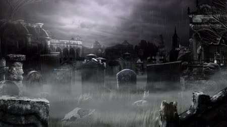 horror : Scary Cemetery! Stock Footage