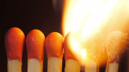 match : Lighting up a match heads. Stock Footage