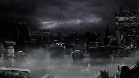 spooky : Scary Cemetery! Stock Footage