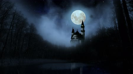 noite : Scary dark castle in the woods.