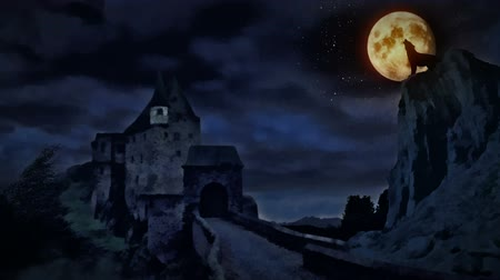 волк : Dark castle and a wolf howling at the moon.
