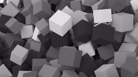 szürkeárnyalatos : Falling cubes. Black and white animation.