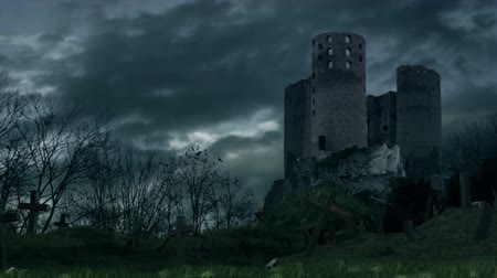 wampir : Dark castle and cemetery during storm.