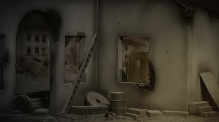 abandoned old : View inside destroyed building. Stock Footage