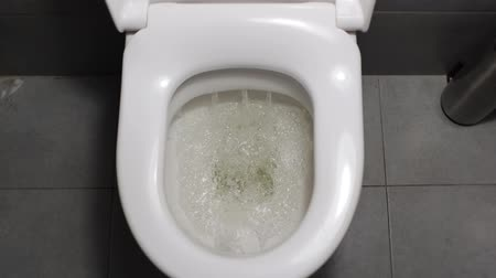 уборная : Flushing toilet in office bathroom. Стоковые видеозаписи