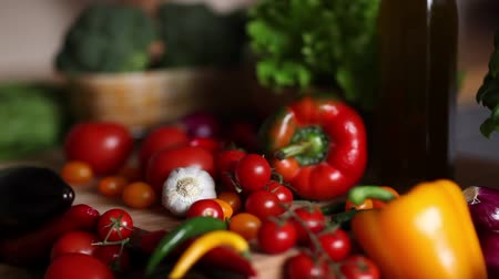 tomate : Organic vegetables, healthy food concept, dolly shot.