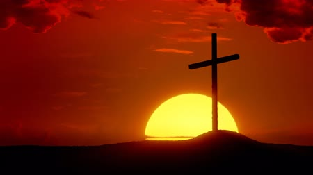 easter : Time-lapse sunrise behind Calvary cross