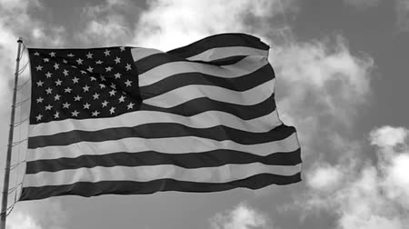 bandeira americana : United States flag on pole blowing in the breeze, black and white in slow motion