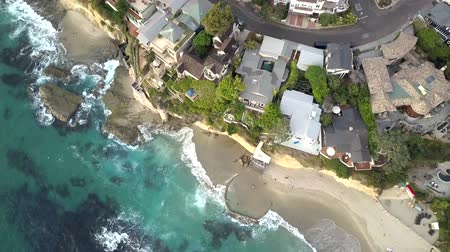 megye : Birds Eye Aerial View of Laguna Beach City Coast, California Ocean Waves Breaking on Victoria Beach