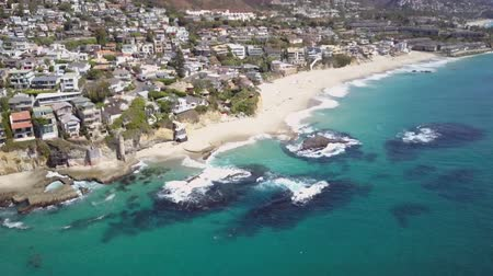 Aerial View of Laguna Beach City, California, Majestic White Sand Victoria Beach on Pacific Ocean Wideo