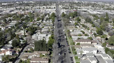 Aerial drone view of suburb residential houses, Van Nuys, California Wideo
