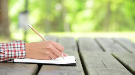 notebooklar : Young woman writing on a notebook sitting at a wooden table at the park during a sunny day, hands close up Stok Video