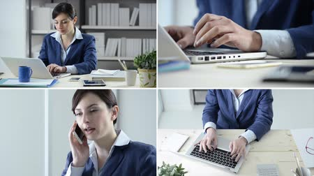 alkalmazottak : Confident businesswoman at work, typing on a laptop and answering phone calls, set of video collage Stock mozgókép