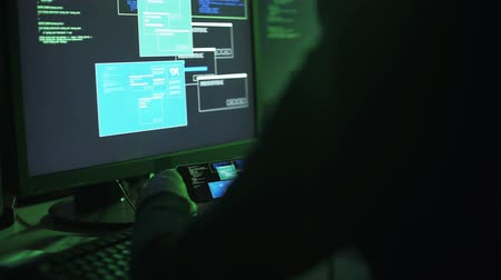 operational system : Professional hacker working with multiple devices, he is checking data transfer on computer screens and on his smartphone Stock Footage