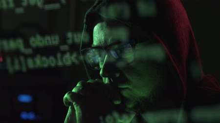 operational system : Hacker with glasses and hoodie, cyber crime and hacking concept