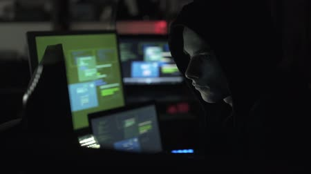 operational system : Black hat hacking a computer network, accessing data and stealing private information, cyber security and malware concept