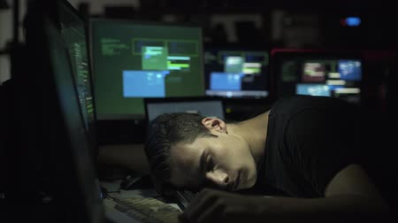 spying : Computer developer and hacker working at desk, cyber security and overwork concept
