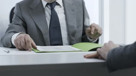 scrutiny : Corporate employer checking the candidates resume during a job interview, employment and business concept