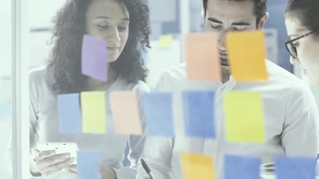 group people : Successful young business team working in the office, they are examining sticky notes and discussing together: business strategy and teamwork concept Stock Footage