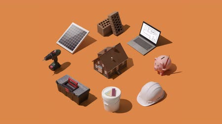 piggy bank : Isometric home renovation, repair and construction infographic: model house with laptop, tools and construction materials