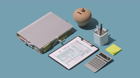 byrokracie : Filing the 1040 individual income tax return form on the office desk, finance and accounting concept, isometric objects