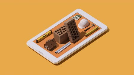 do it yourself : Home renovation and construction app: isometric work tools and equipment on a touch screen smartphone