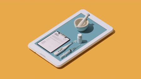 zabránit : Online medical app on a smartphone: doctor healthcare equipment and prescription medicine on a touch screen smartphone